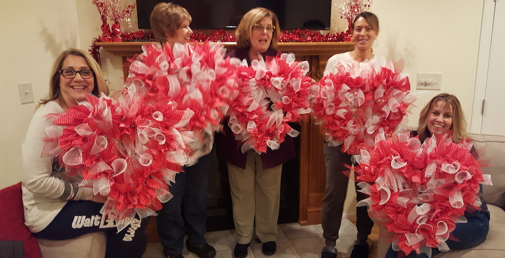 Valentines Day Craft Corner at SFV Making Wreaths