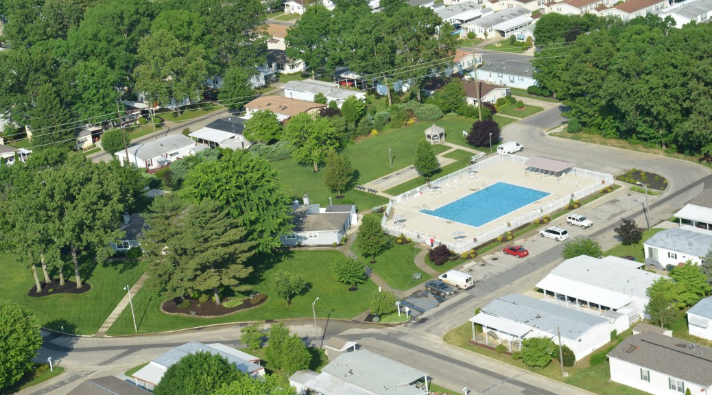 ariel view of Summerfields Friendly Village Clubhouse and Pool