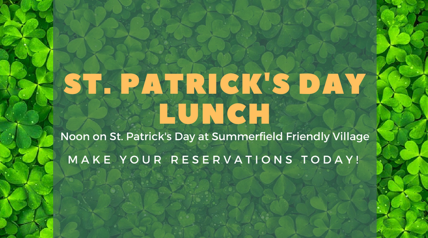 RSVP St. Patrick's Day Lunch Make Your Reservations Today