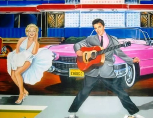 Elvis and Marilyn with a Pink Caddy