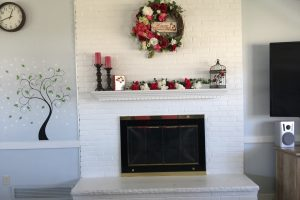 Clubhouse Fireplace with Valentines Decorations on Mantle
