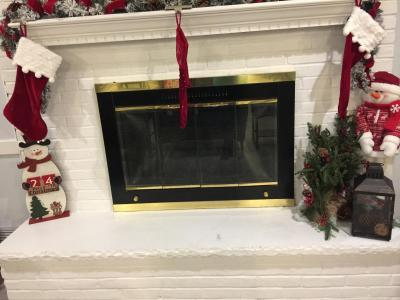 Clubhouse Fireplace during Christmas