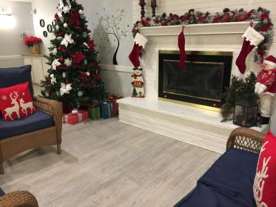Christmas Decorated Clubhouse Fireplace